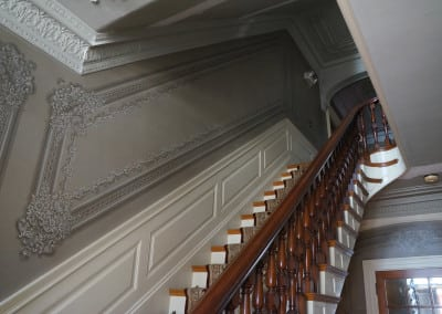 Here is a picture of the stairs taken from the first floor at our hotel durham nh. There is a beautiful runner installed running up the stairs.