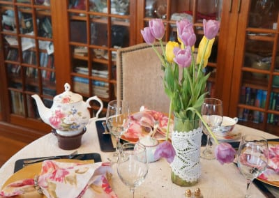 Here is a table that is set up in our tea room ready to seat happy guests. Unlike other hotels in dover nh, our tea room is a special part of your stay.