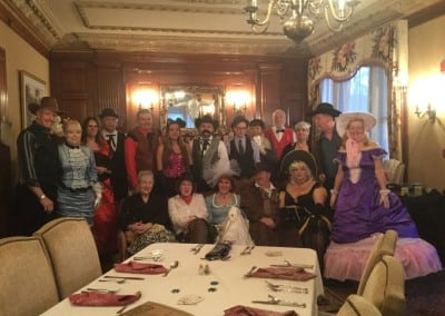 Here is the group that joined us for our western themed dinner party event. This Hotel near durham nh hosts themed dinner parties and murder mystery events all year long.