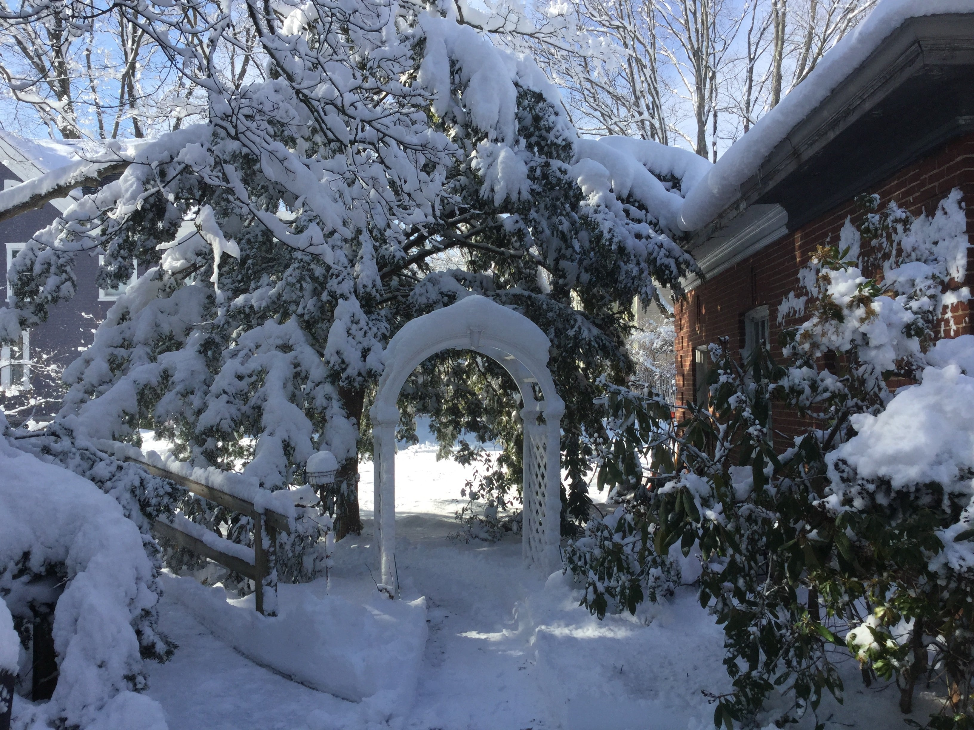 Here is a view of a snow covered walkway at our hotel near seacoast nh.