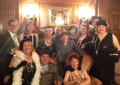 Here is a group all dressed up for 1920s gangster prohibition era themed event. We hold events at our dover nh hotel all year long.