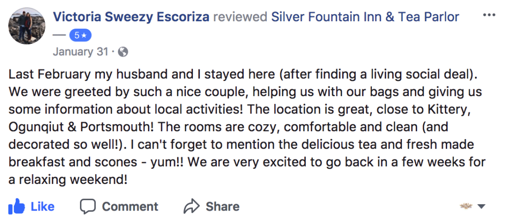 Further evidence as to why Silver Fountain is one of the best hotels in Dover NH