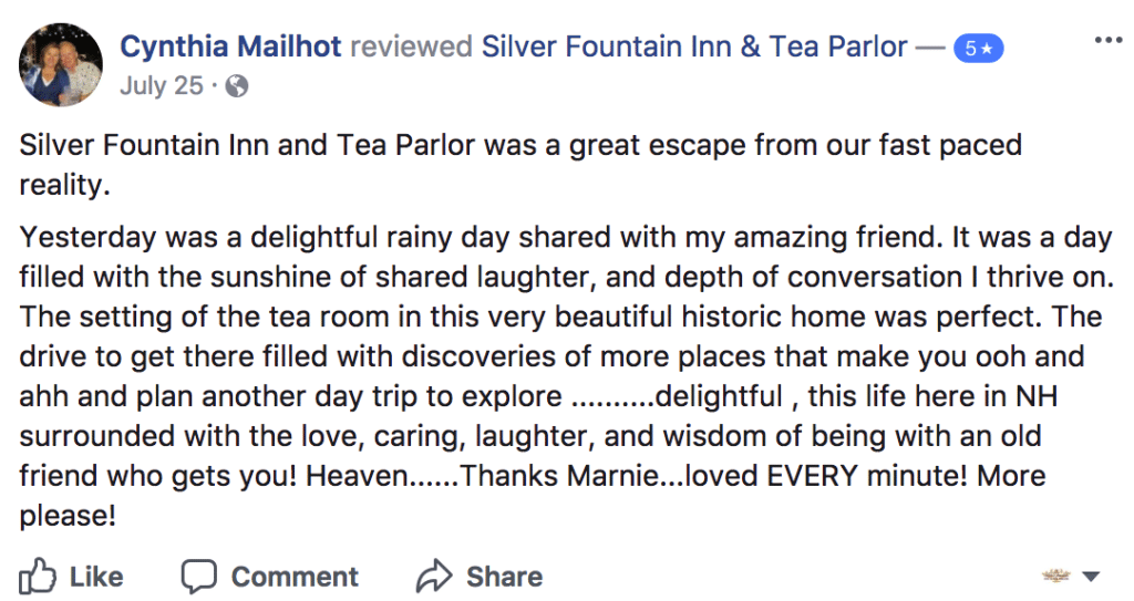 Praise from Cynthia about our Dover NH area hotel