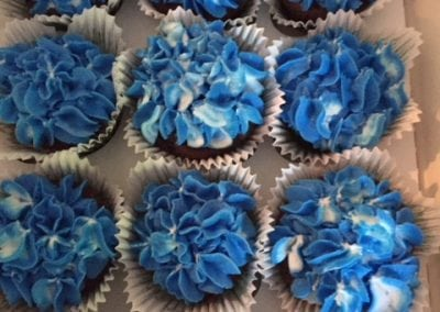 Here are a number of cupcakes Gail created at our Dover NH hotel. They are dark blue and well frosted.
