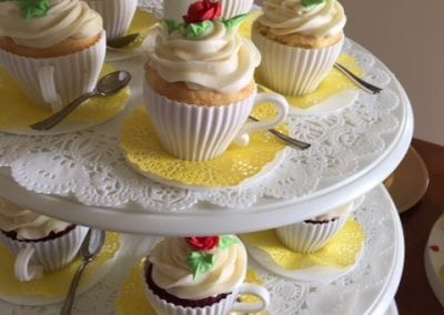 Here is a beautiful close up shot of cupcakes in mugs served on a five tier tray. Lots of cupcakes can be found at our Portsmouth NH restaurant.