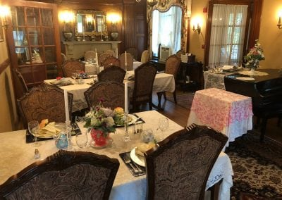 Here is another angle of the inside of the tea parlor. This one of the best things to do near portsmouth nh. This image shows numerous tables set and ready for our guests to enjoy the experience.