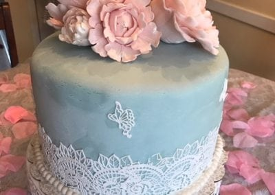 Tiffany bridal shower cake with edible lace and gum paste flowers!